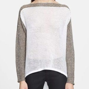 HELMUT LANG Cream Colorblock Knit Linen Sweater